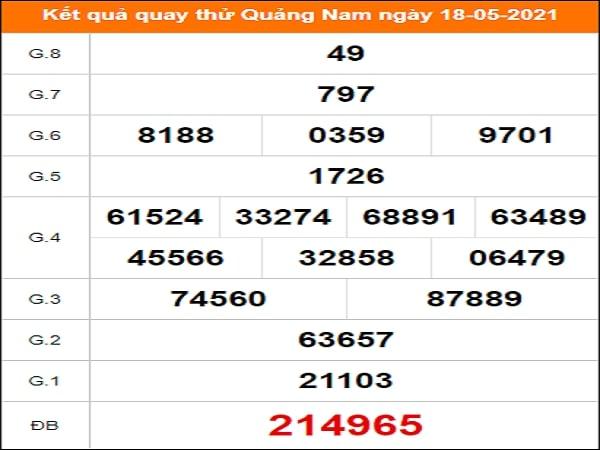 Quay thử kết quả xổ số Quảng Nam 18/5/2021